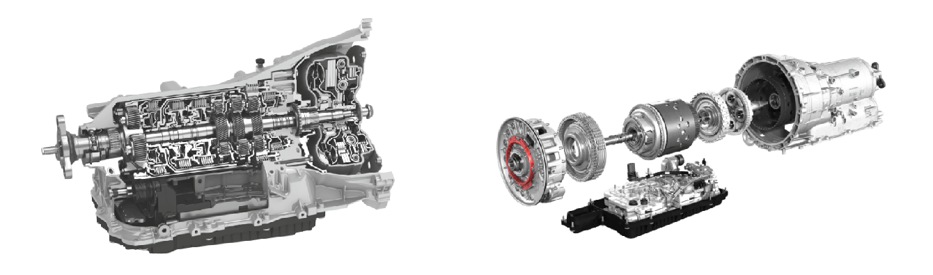 Cross-section of two ZF 8 Speed transmission engines